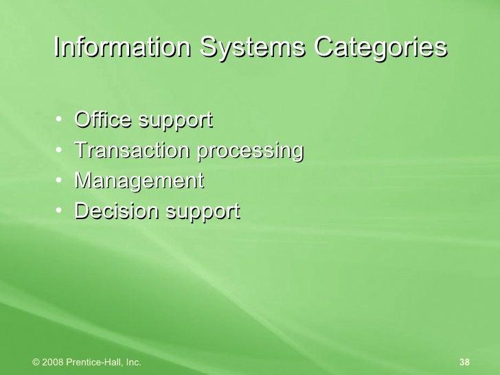 Information Systems Categories <ul><li>Office support </li></ul><ul><li>Transaction processing </li></ul><ul><li>Managemen...