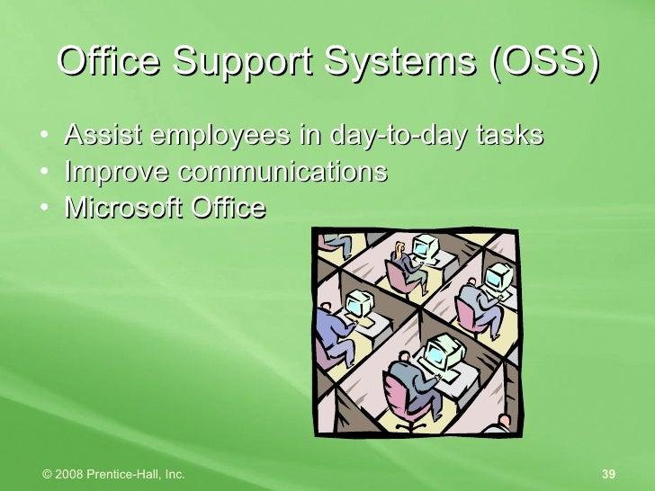 Office Support Systems (OSS) <ul><li>Assist employees in day-to-day tasks </li></ul><ul><li>Improve communications </li></...