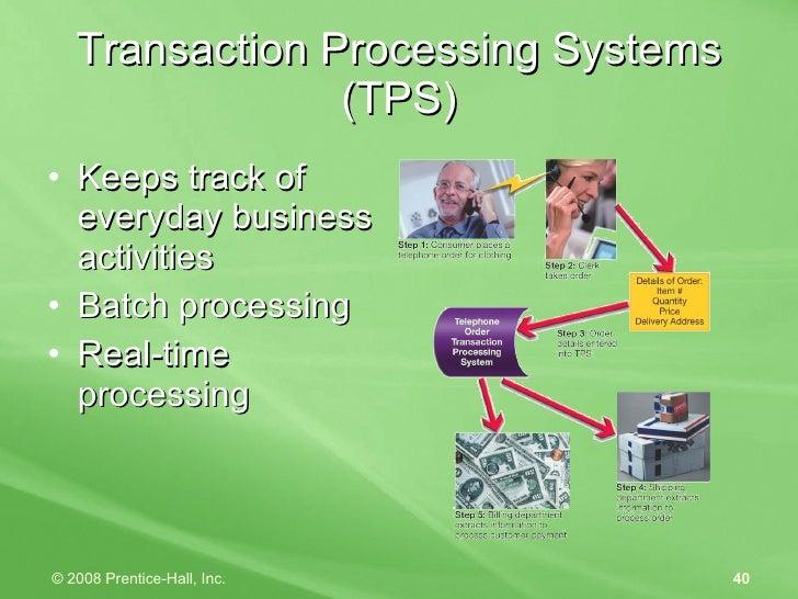 Transaction Processing Systems (TPS) <ul><li>Keeps track of everyday business activities </li></ul><ul><li>Batch processin...
