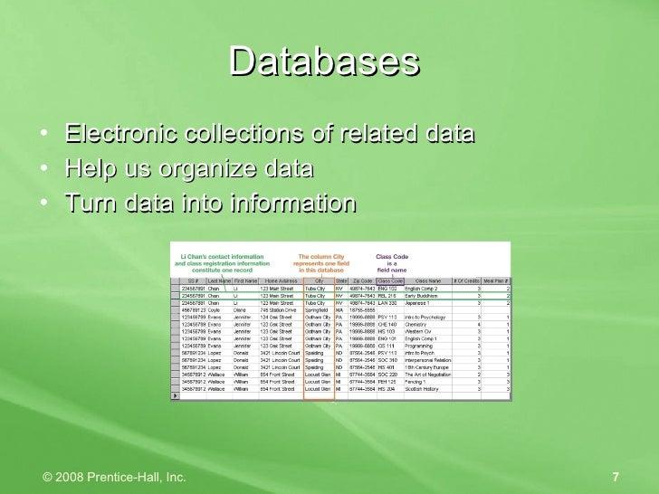 Databases  <ul><li>Electronic collections of related data </li></ul><ul><li>Help us organize data </li></ul><ul><li>Turn d...