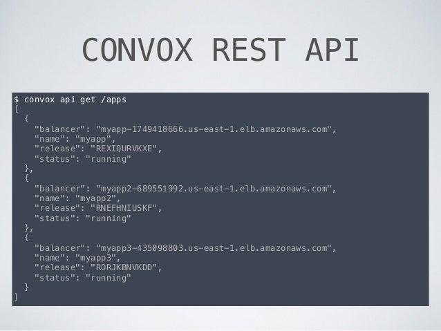 "CONVOX REST API $ convox api get /apps [ { ""balancer"": ""myapp-1749418666.us-east-1.elb.amazonaws.com"", ""name"": ""myapp"", ""r..."