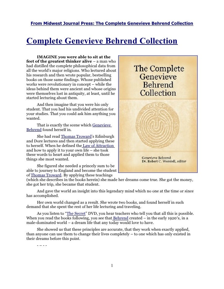 From Midwest Journal Press: The Complete Genevieve Behrend CollectionComplete Genevieve Behrend Collection       IMAGINE y...