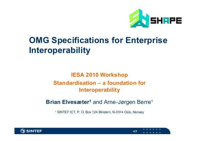 OMG Specifications for Enterprise Interoperability IESA 2010 Workshop Standardisation – a foundation for Interoperability ...