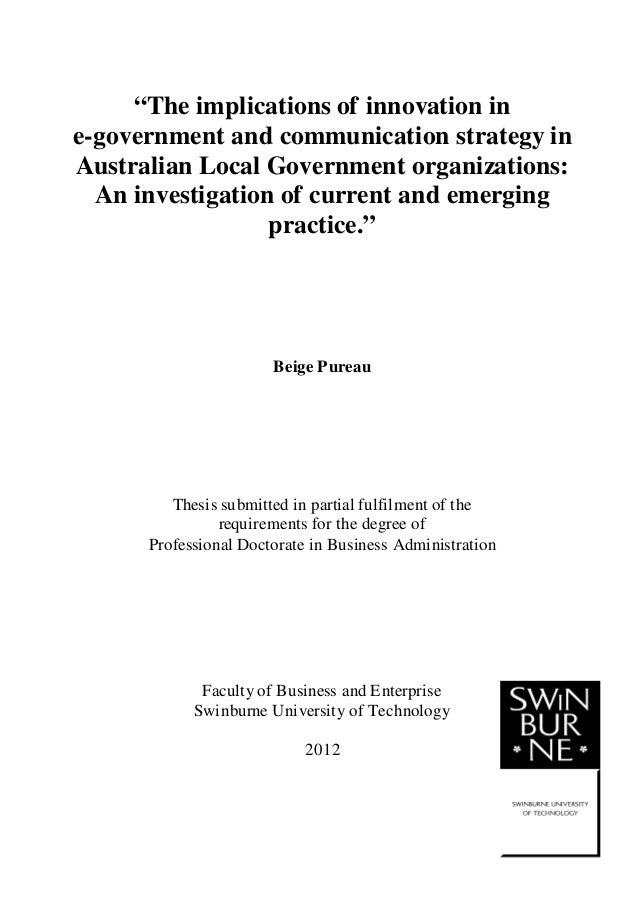 "1 ""The implications of innovation in e-government and communication strategy in Australian Local Government organizations:..."