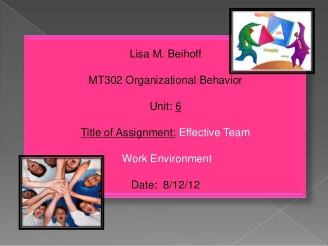 Lisa M. Beihoff MT302 Organizational Behavior Unit: 6 Title of Assignment: Effective Team Work Environment Date: 8/12/12