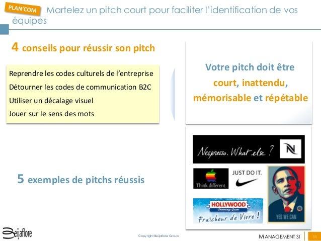 MANAGEMENT SI  11  Copyright Beijaflore Group  Votre pitch doit être court, inattendu, mémorisable et répétable  Martelez ...
