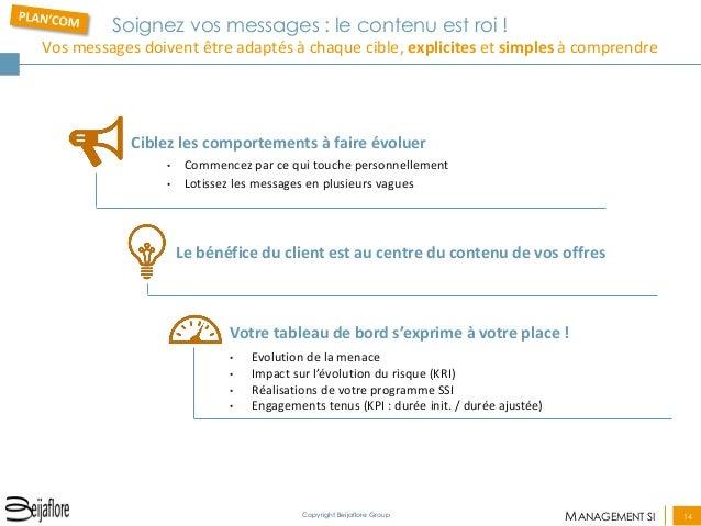 MANAGEMENT SI  14  Copyright Beijaflore Group  Soignez vos messages : le contenu est roi ! Vos messages doivent être adapt...