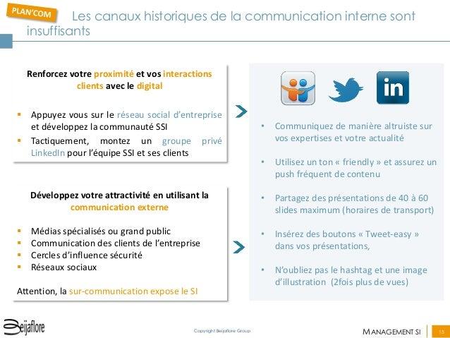MANAGEMENT SI  15  Copyright Beijaflore Group  Les canaux historiques de la communication interne sont insuffisants  Dével...