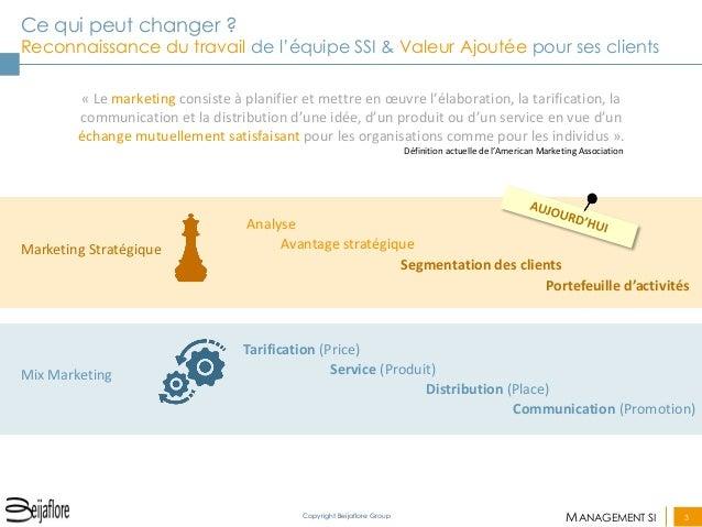 MANAGEMENT SI  3  Copyright Beijaflore Group  Ce qui peut changer ? Reconnaissance du travail de l'équipe SSI & Valeur Ajo...