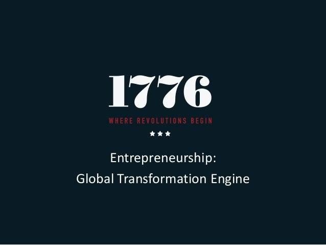Entrepreneurship: Global Transformation Engine