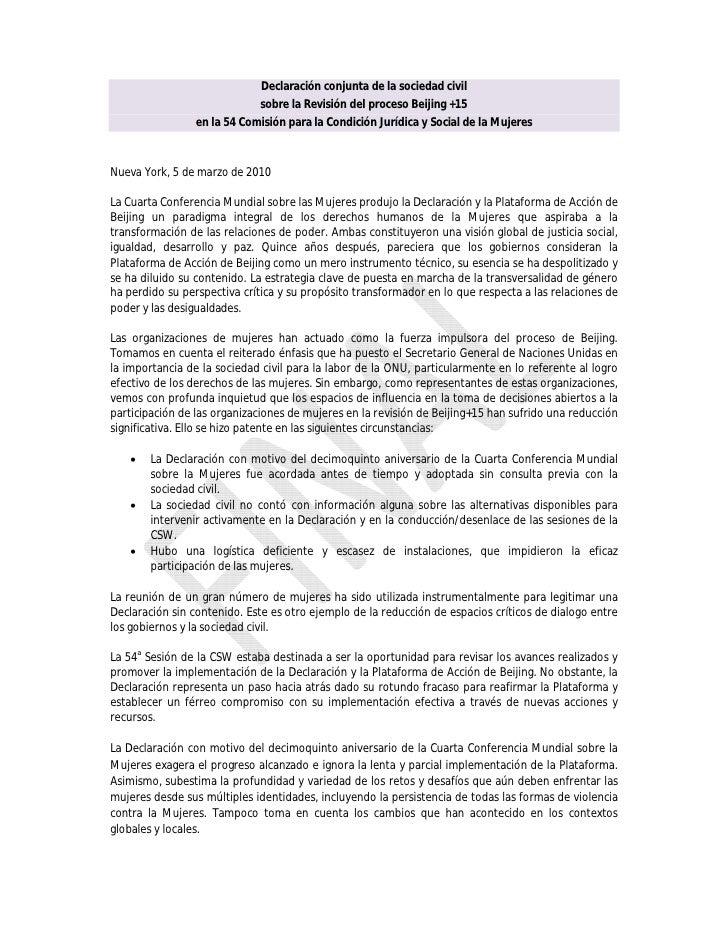 Declaración conjunta de la sociedad civil                              sobre la Revisión del proceso Beijing +15          ...