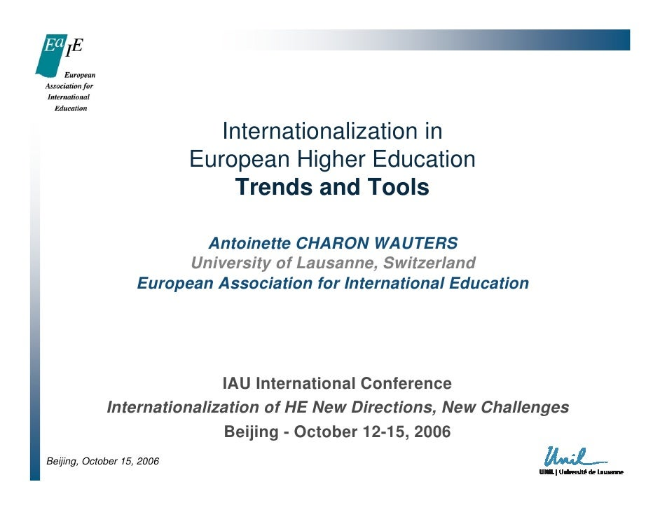 Internationalization in                            European Higher Education                                 Trends and To...