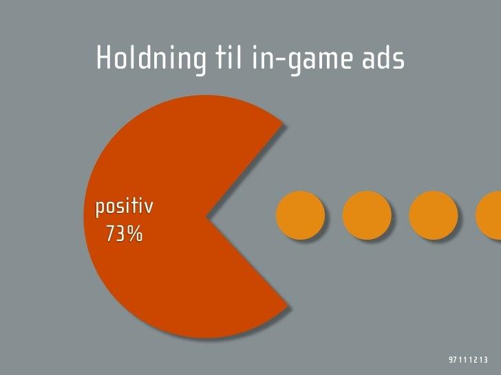 Holdning til in-game ads    positiv  73%                                97 11 12 13