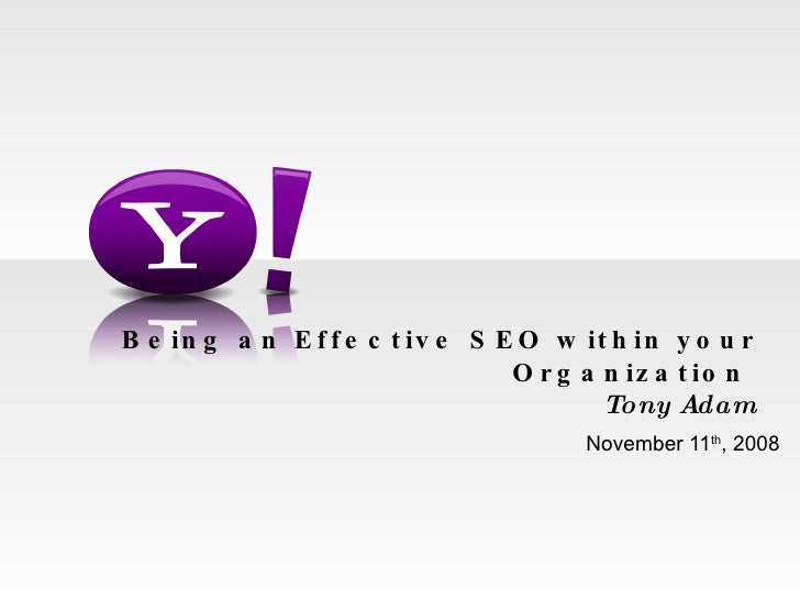 Being an Effective SEO within your Organization  Tony Adam November 11 th , 2008