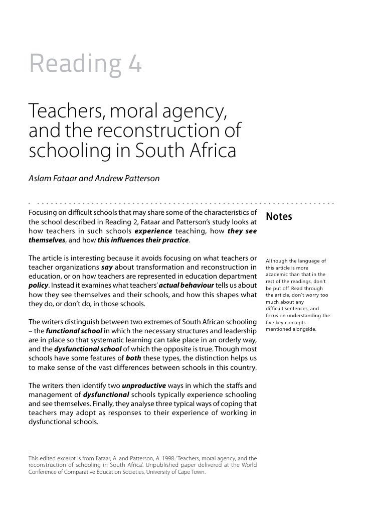 Reading 4Teachers, moral agency,and the reconstruction ofschooling in South AfricaAslam Fataar and Andrew PattersonFocusin...