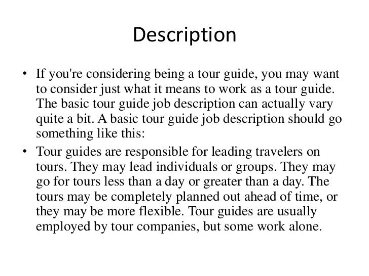 Being A Tour Guide