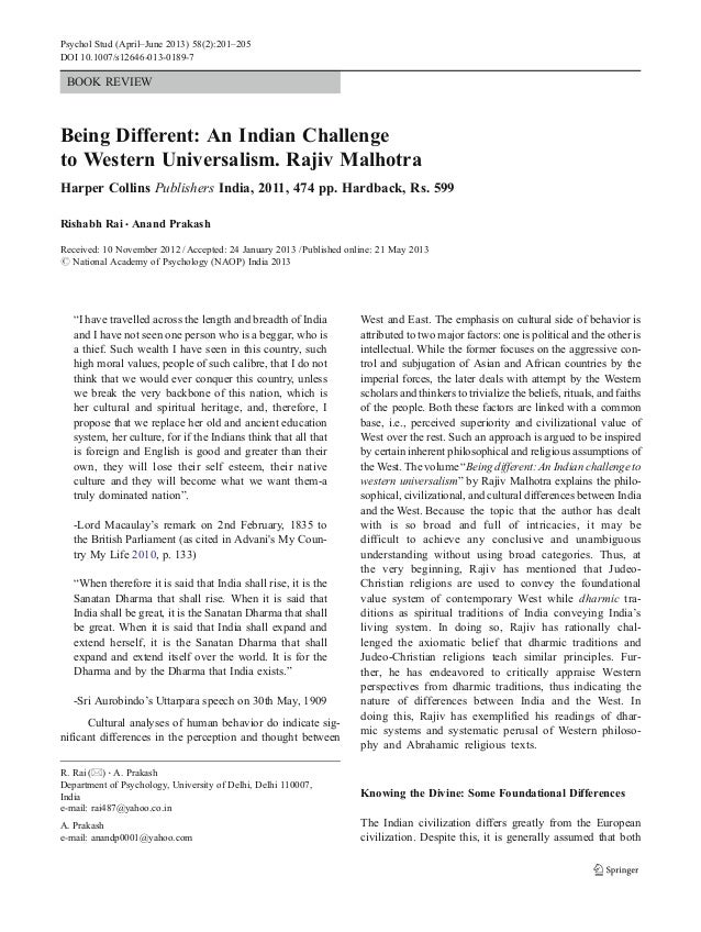 Psychol Stud (April–June 2013) 58(2):201–205  DOI 10.1007/s12646-013-0189-7  BOOK REVIEW  Being Different: An Indian Chall...