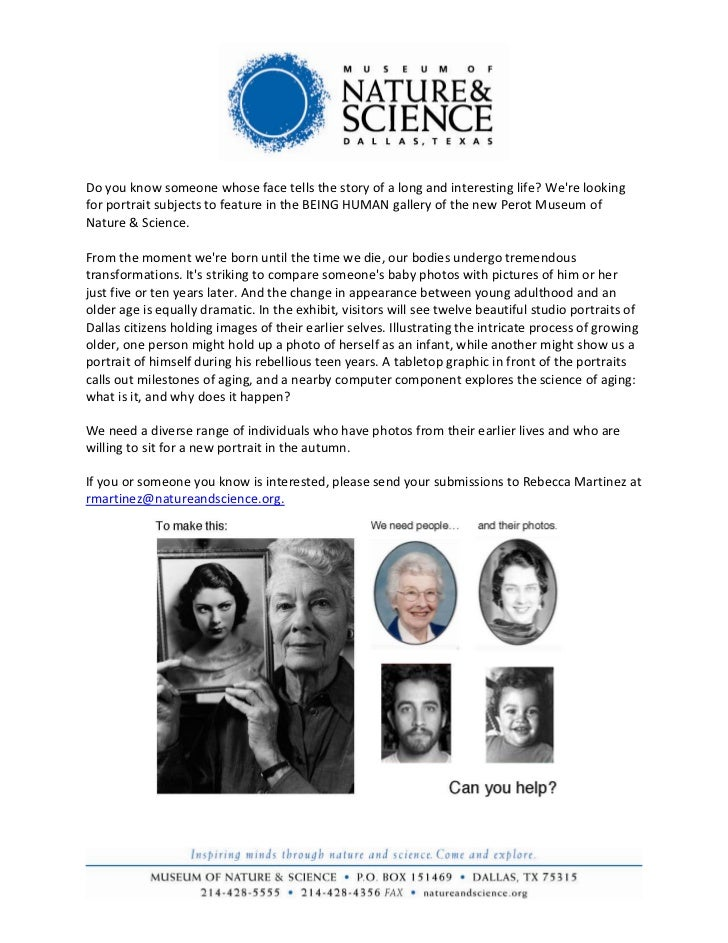 Do you know someone whose face tells the story of a long and interesting life? Were lookingfor portrait subjects to featur...
