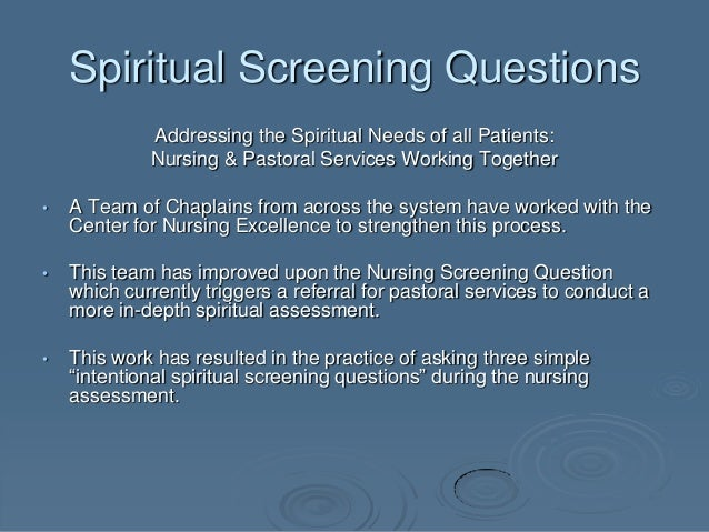 spiritual assessment tool What is a spiritual health assessment it is a tool that has been developed to help you evaluate potential areas for spiritual growth this assessment tool is.
