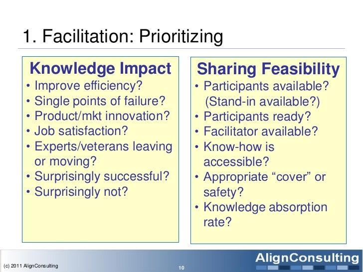 1. Facilitation: Prioritizing           Knowledge Impact                 Sharing Feasibility         • Improve efficiency?...