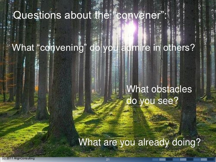 Questions about the ―convener‖:       What ―convening‖ do you admire in others?                                      What ...