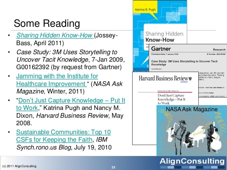 Some Reading   • Sharing Hidden Know-How (Jossey-     Bass, April 2011)   • Case Study: 3M Uses Storytelling to     Uncove...