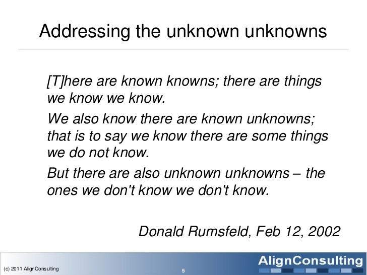 Addressing the unknown unknowns                  [T]here are known knowns; there are things                  we know we kn...