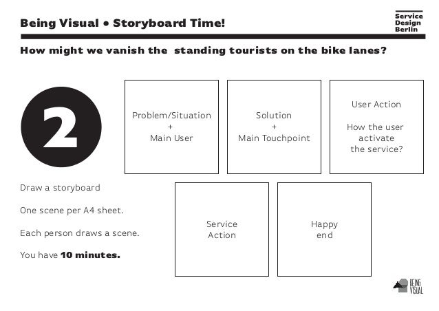 Draw a storyboard One scene per A4 sheet. Each person draws a scene. You have 10 minutes. Being Visual • Storyboard Time! ...
