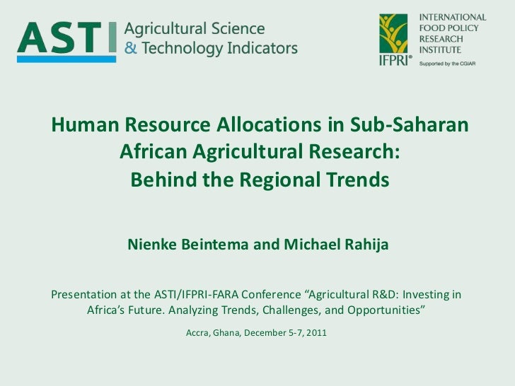 Human Resource Allocations in Sub-Saharan     African Agricultural Research:      Behind the Regional Trends              ...