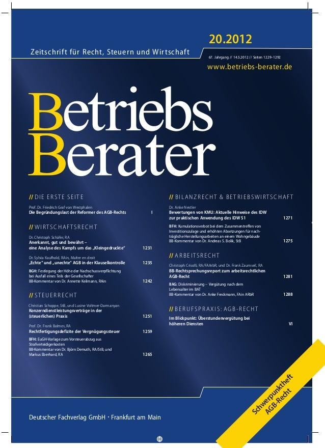 www.betriebs-berater.de Zeitschrift für Recht, Steuern und Wirtschaft 20.2012 67. Jahrgang // 14.5.2012 // Seiten 1229–129...