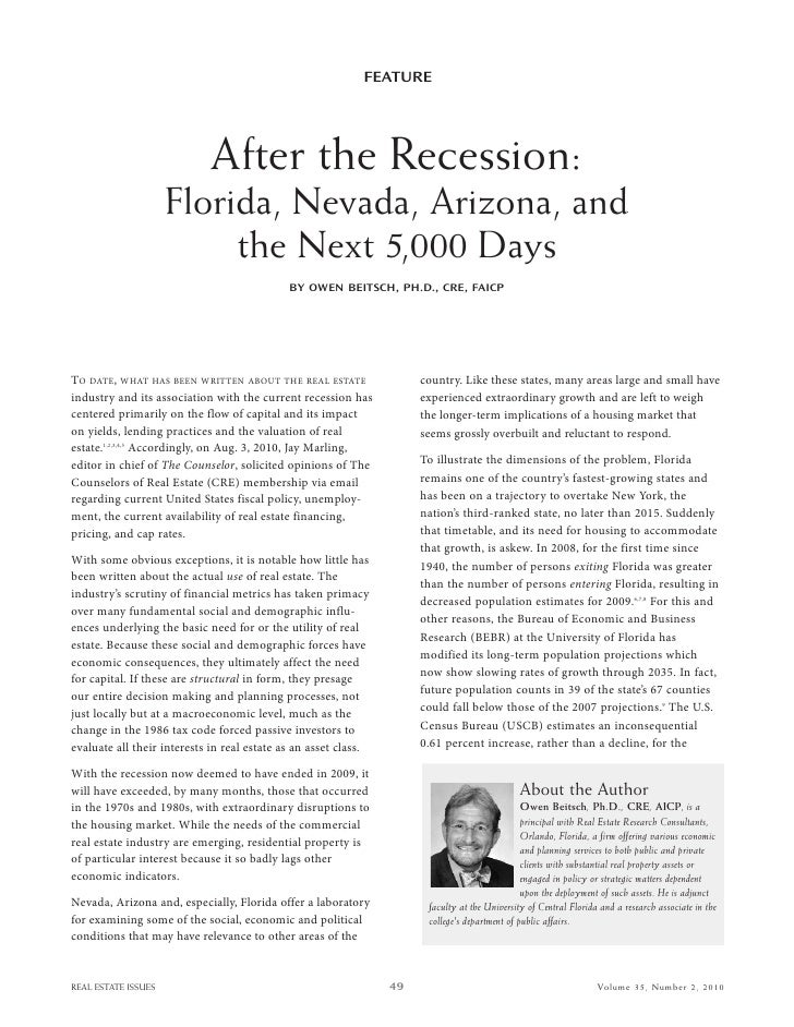FEATURE                                  After the Recession:                      Florida, Nevada, Arizona, and          ...