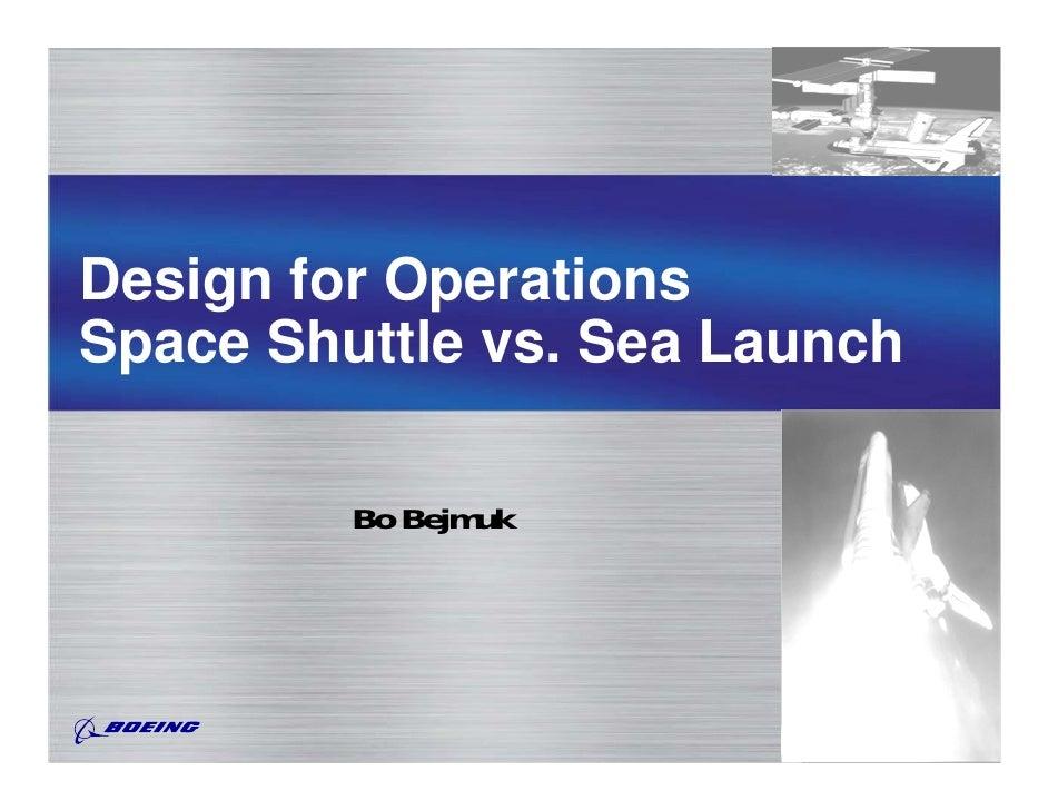 Design for OperationsSpace Shuttle vs. Sea Launch         Bo Bejmuk
