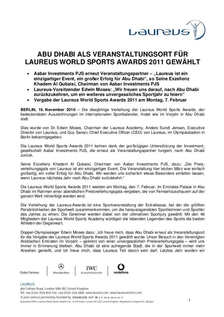 ABU DHABI ALS VERANSTALTUNGSORT FÜR  LAUREUS WORLD SPORTS AWARDS 2011 GEWÄHLT   •   Aabar Investments PJS erneut Veranstal...