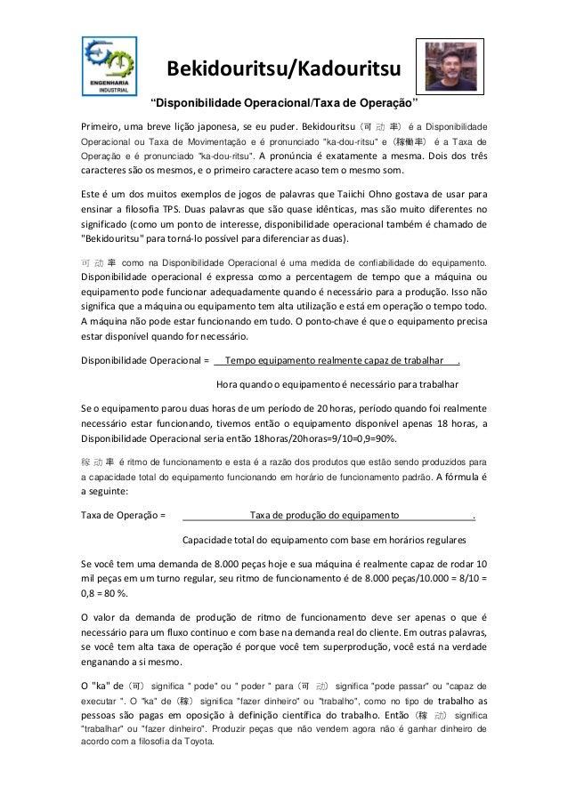 """Bekidouritsu/Kadouritsu """"Disponibilidade Operacional/Taxa de Operação"""" )率  动 可(  Operacional ou Taxa de Movimentação e é p..."""
