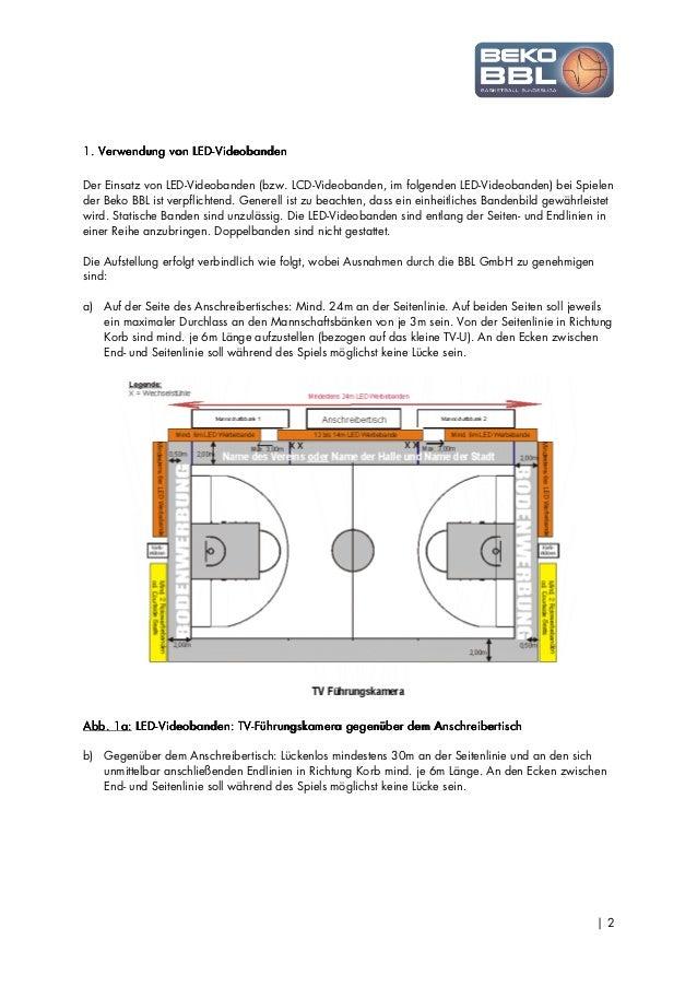 Beko BBL-Richtlinie zur Verwendung von LED-Videobanden 2013/2014 Slide 2