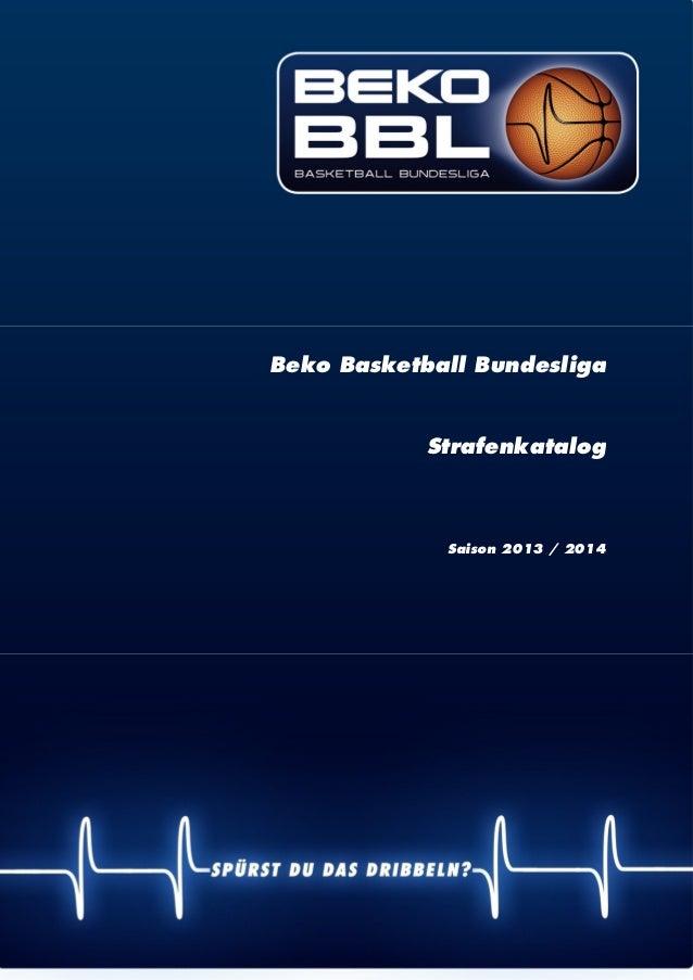 | 1 Beko Basketball Bundesliga Strafenkatalog Saison 2013 / 2014