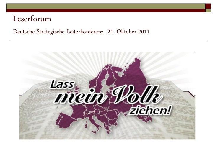 LeserforumDeutsche Strategische Leiterkonferenz 21. Oktober 2011