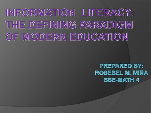 """National Forum on Information Literacy (1989)  --- """"Information literacy is defined as the ability to know  when there is ..."""