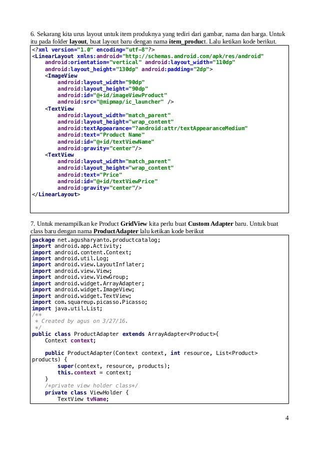 Belajar Android Membuat Katalog Produk