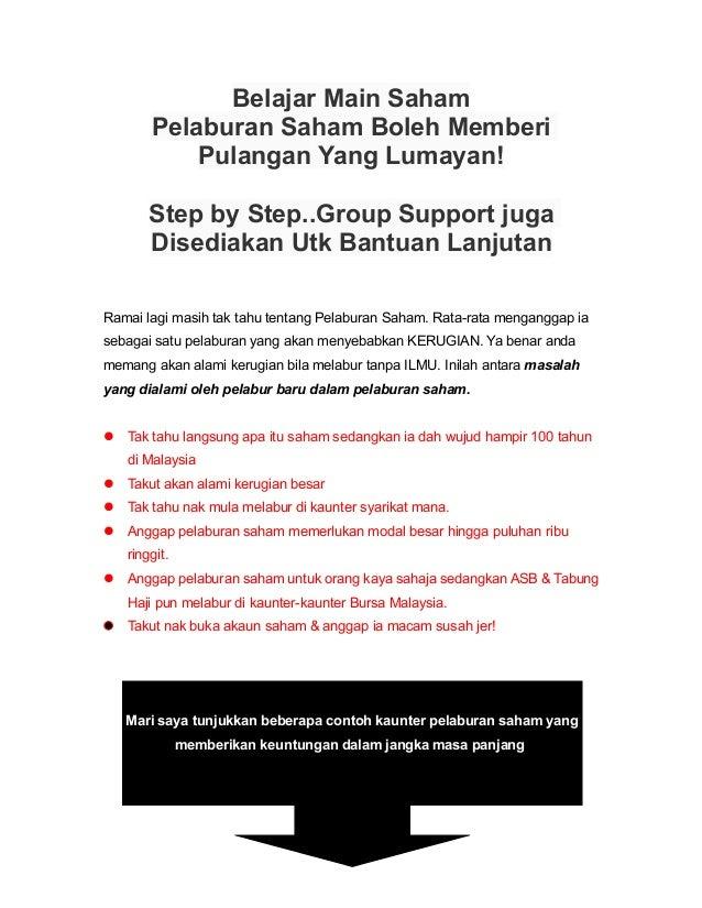 Belajar Main Saham Pelaburan Saham Boleh Memberi Pulangan Yang Lumayan! Step by Step..Group Support juga Disediakan Utk Ba...