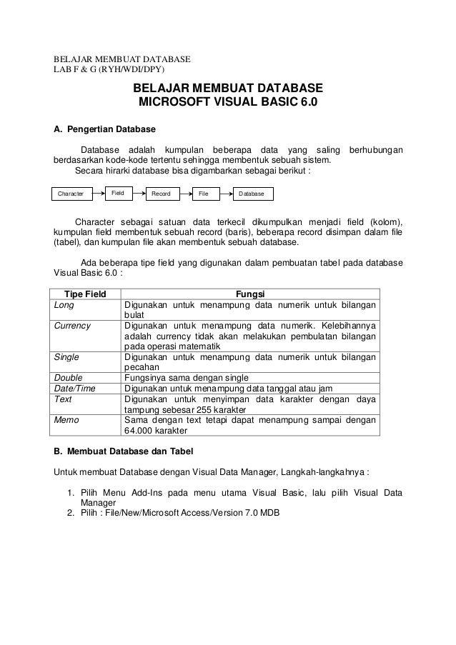 BELAJAR MEMBUAT DATABASE LAB F & G (RYH/WDI/DPY) BELAJAR MEMBUAT DATABASE MICROSOFT VISUAL BASIC 6.0 A. Pengertian Databas...