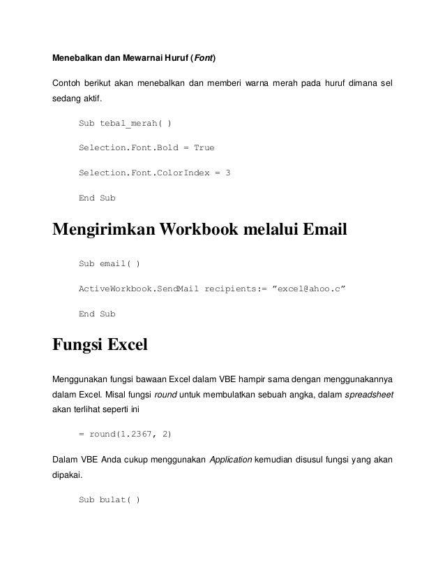 Belajar Vb Pada Excel