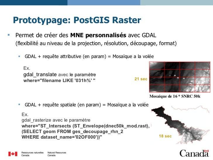 Prototypage: PostGIS Raster <ul><li>Permet de créer des  MNE personnalisés  avec GDAL  </li></ul><ul><li>(flexibilité au n...
