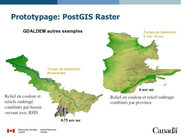 Prototypage: PostGIS Raster Relief en couleur et reliefs ombragé combinés par bassin versant avec RHN 0.75 arc sec Relief ...