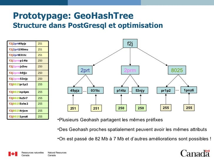 Prototypage: GeoHashTree Structure dans PostGresql et optimisation <ul><li>Plusieurs Geohash partagent les mêmes préfixes ...