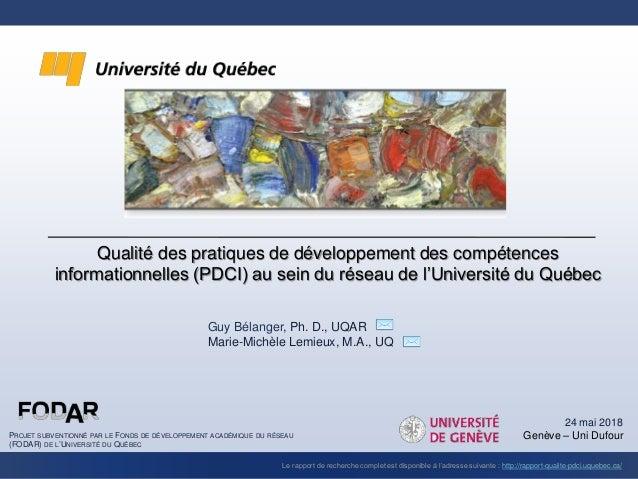 Qualité des pratiques de développement des compétences informationnelles (PDCI) au sein du réseau de l'Université du Québe...