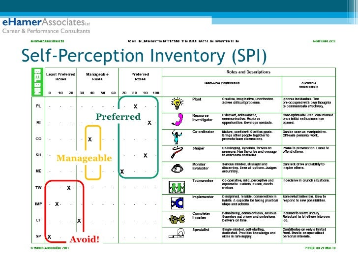 self perception inventory The belbin team role self-perception inventory (spi) is a well-known and well- used measure for identifying an individual's team roles less well-known is.