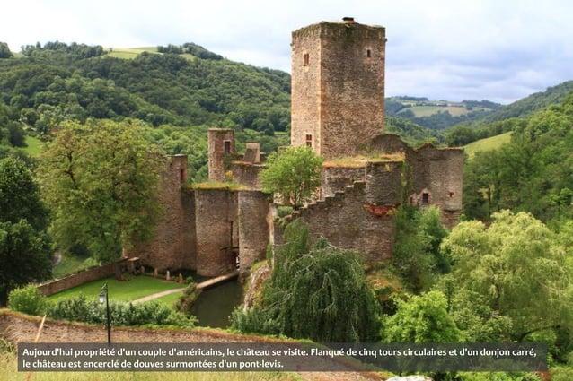 Construit au XVème siècle par le seigneur du village, le pont en dos dâne enjambe lAveyron de ses cinq arches. Ilmène à lé...