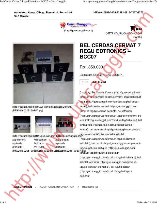 Workshop: Komp. Cibogo Permai, Jl. Permai 10 No.3 Cimahi HP/WA: 0857-2009-3239 / 0815-7227-8277 (http://gurucanggih.com/) ...