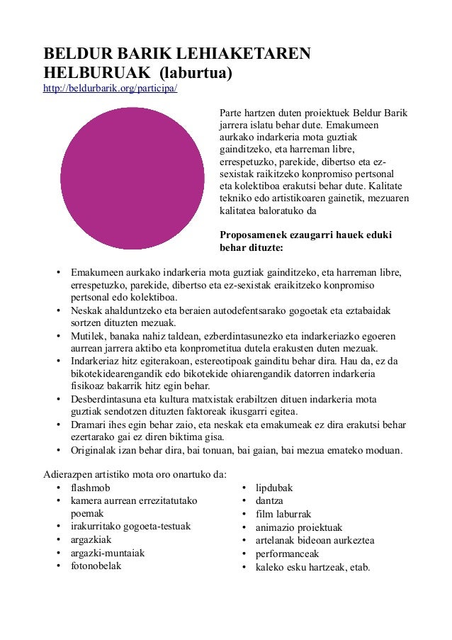 BELDUR BARIK LEHIAKETAREN  HELBURUAK (laburtua)  http://beldurbarik.org/participa/  Parte hartzen duten proiektuek Beldur ...